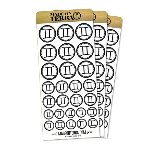 Zodiac Sign Gemini Removable Matte Sticker Sheets Set