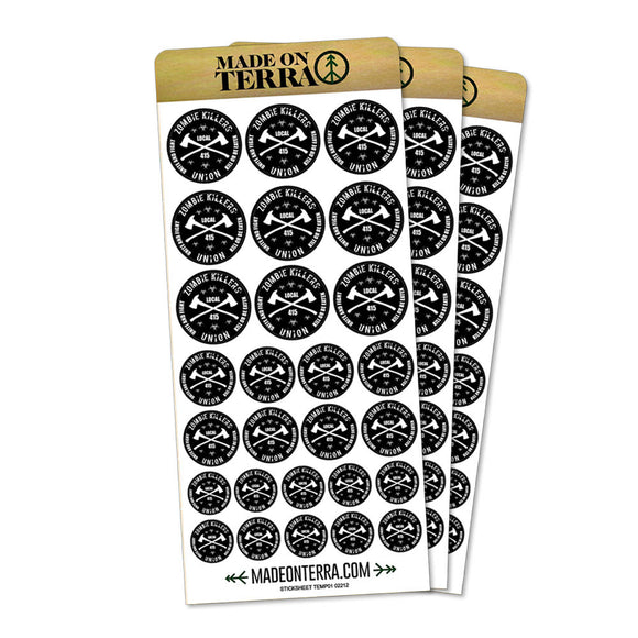 Zombie Killers Union Removable Matte Sticker Sheets Set