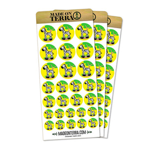Zebra And Tree Cute Removable Matte Sticker Sheets Set