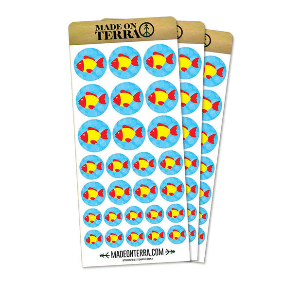 Tropical Fish Red Yellow Removable Matte Sticker Sheets Set
