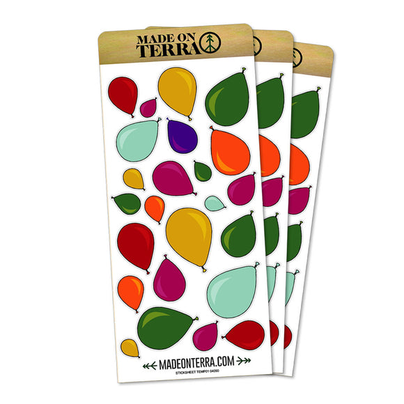 Party Balloons Rainbow Removable Matte Sticker Sheets Set