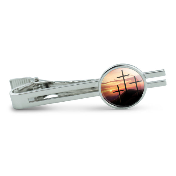 Three Crosses on Hill Men's Tie Clip Tack Bar