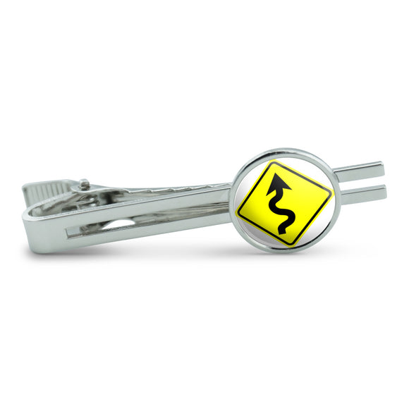 Winding Curvy Road Ahead Basic Yellow Sign Men's Tie Clip Tack Bar
