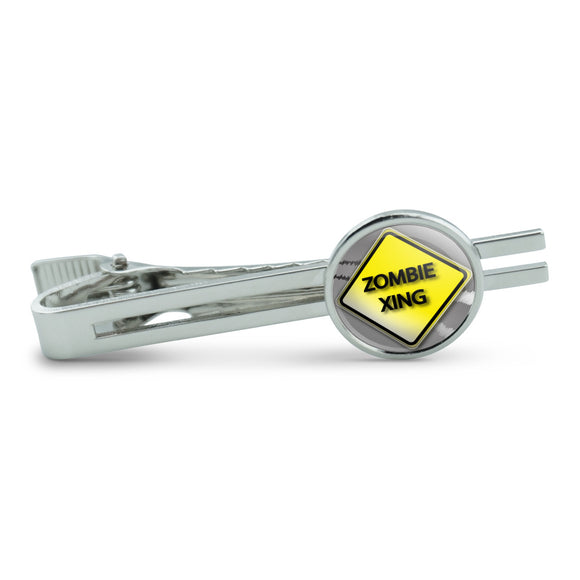 Zombie Xing Crossing Stylized Yellow Grey Caution Sign Men's Tie Clip Tack Bar