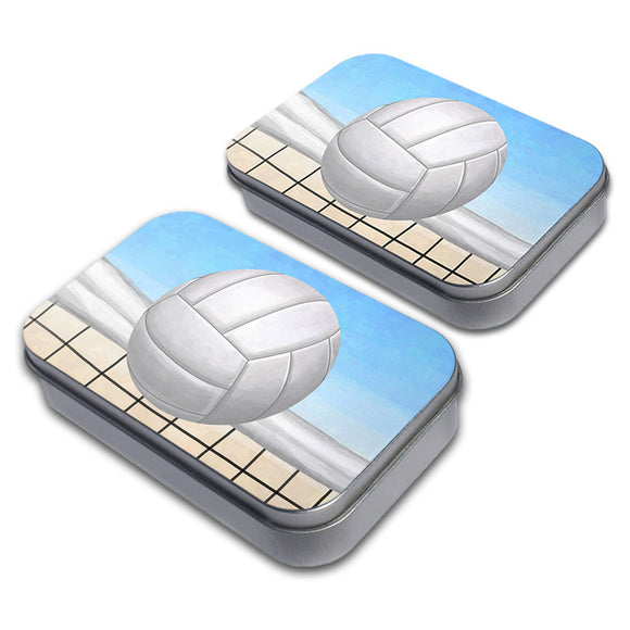 Sporty Volleyball Decorative Craft Trinket Metal Tin Box Set of 2