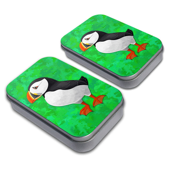 Puffin Decorative Craft Trinket Metal Tin Box Set of 2