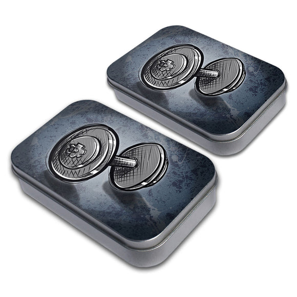 Weight Lifting Dumbbells Decorative Craft Trinket Metal Tin Box Set of 2
