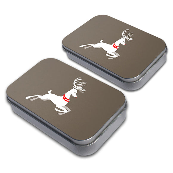 Prancing Reindeer Christmas Decorative Craft Trinket Metal Tin Box Set of 2