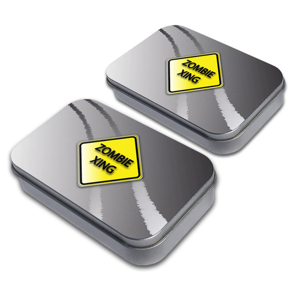 Zombie Xing Crossing Stylized Yellow Grey Caution Sign Metal Tin Box Set of 2