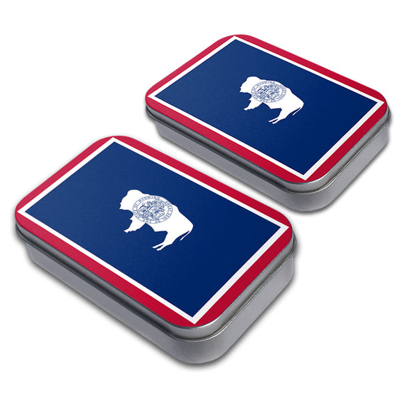 Wyoming State Flag Decorative Craft Trinket Metal Tin Box Set of 2