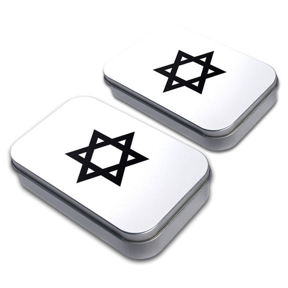Star of David Decorative Craft Trinket Metal Tin Box Set of 2