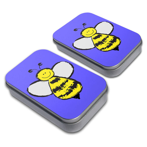Busy As A Bee Decorative Craft Trinket Metal Tin Box Set of 2