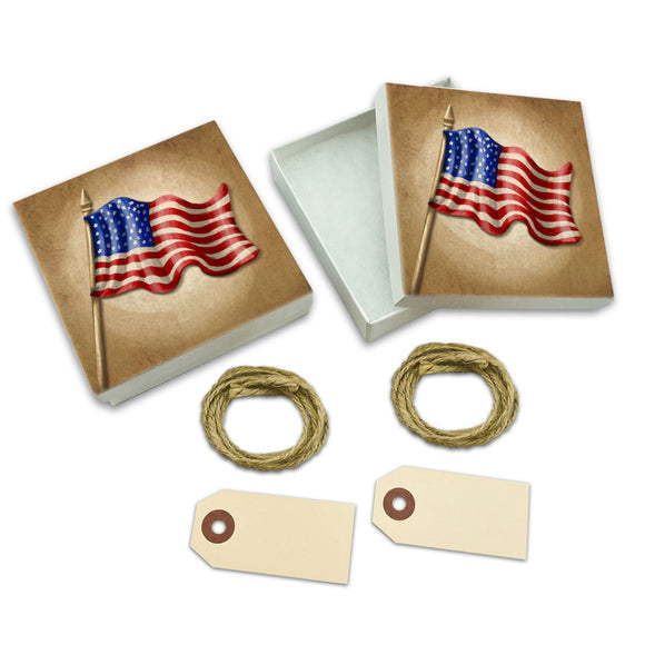 Vintage American Flag White Gift Boxes Set of 2