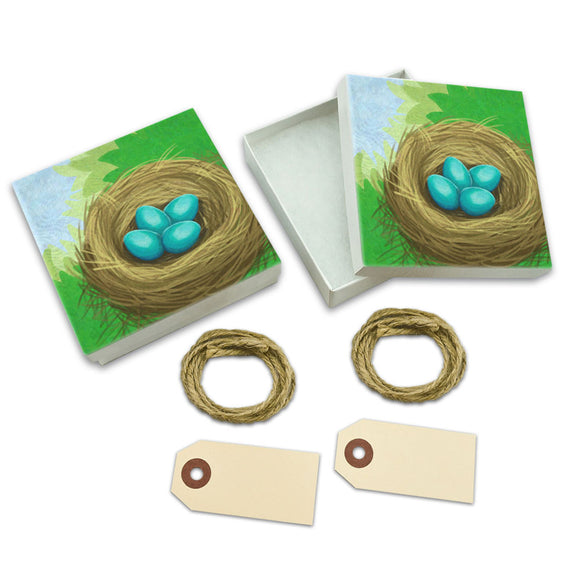 Robin's Nest with Eggs White Gift Boxes Set of 2