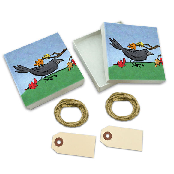 Crow in Autumn White Gift Boxes Set of 2
