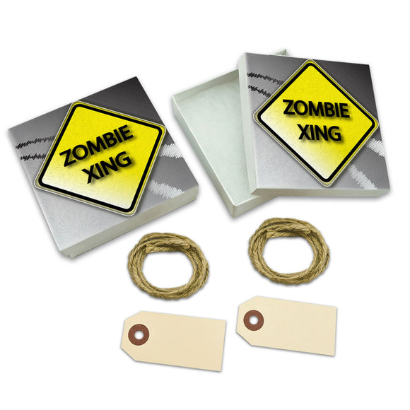 Zombie Xing Crossing Stylized Yellow Grey Caution Sign White Gift Boxes Set of 2