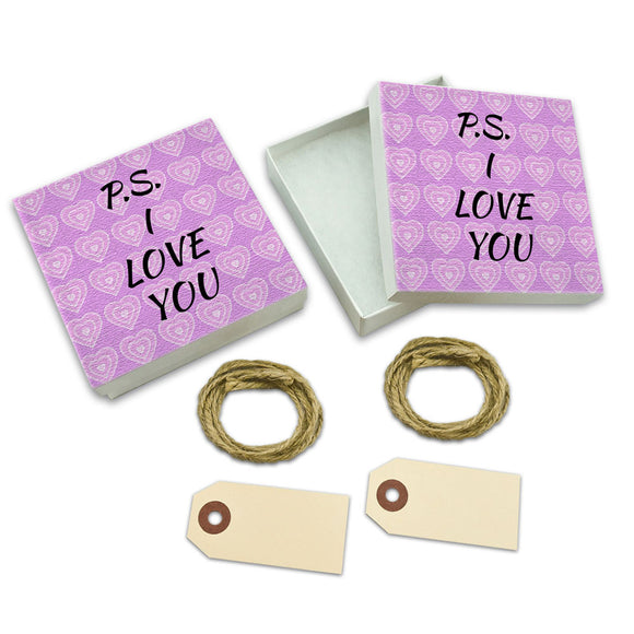 PS I Love You on Pink Hearts Pattern White Gift Boxes Set of 2