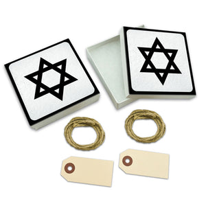 Star of David White Gift Boxes Set of 2