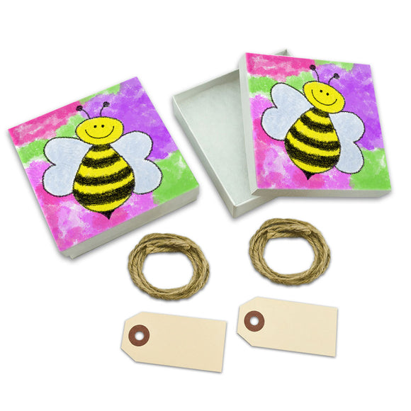 Busy As A Bee Watercolor White Gift Boxes Set of 2