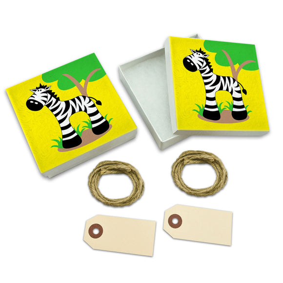 Zebra And Tree Cute White Gift Boxes Set of 2