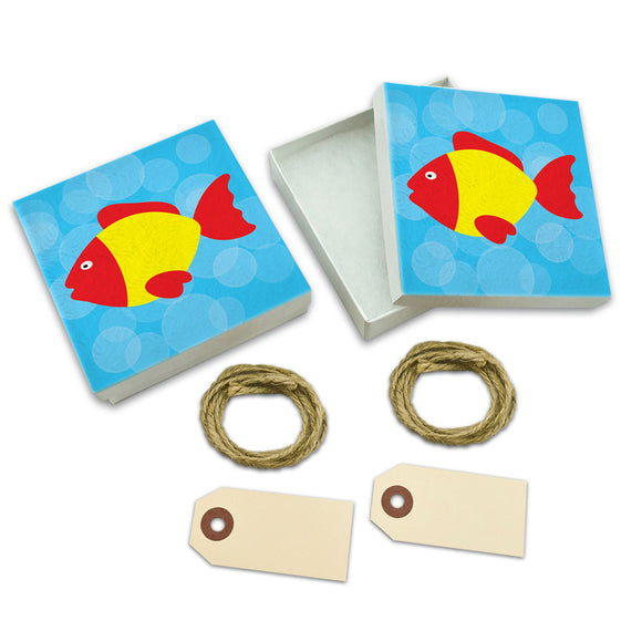 Tropical Fish Red Yellow White Gift Boxes Set of 2