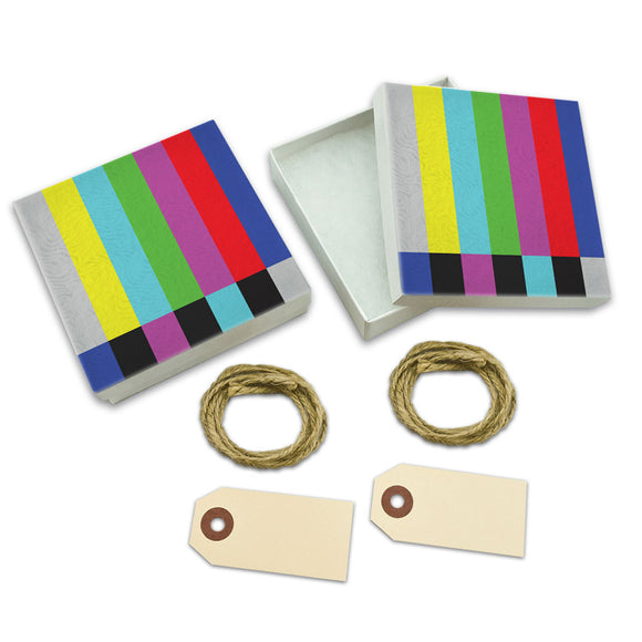 Test Television Color Bars White Gift Boxes Set of 2