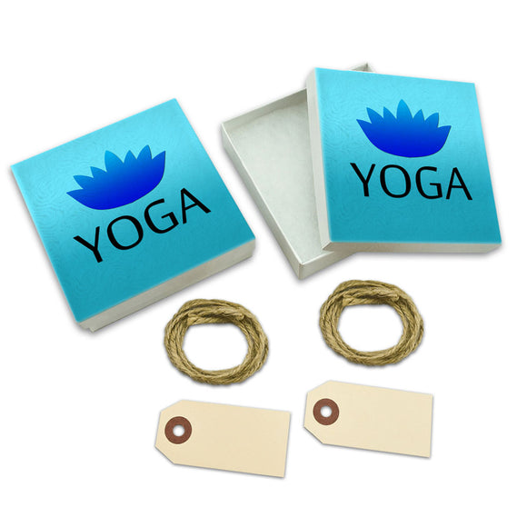 Yoga Lotus Flower White Gift Boxes Set of 2