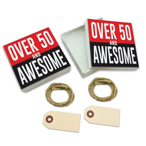 Over Fifty 50 and Awesome Birthday White Gift Boxes Set of 2