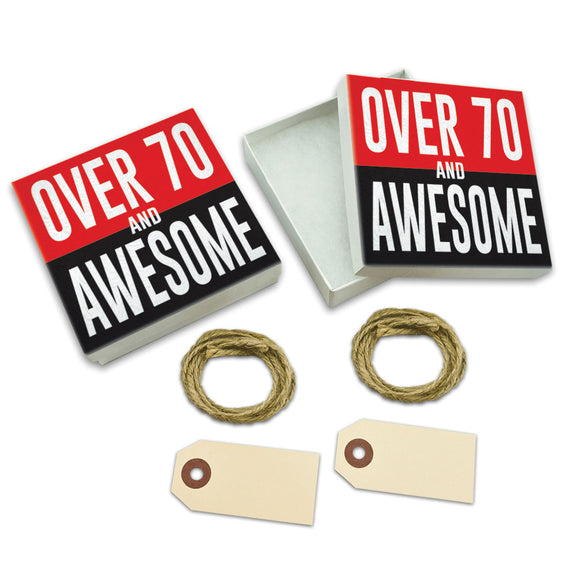 Over Seventy 70 and Awesome Birthday copy White Gift Boxes Set of 2