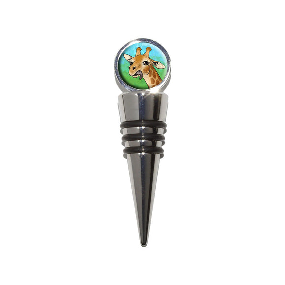 Giraffe Sticking Tongue Out Wine Bottle Stopper Cork