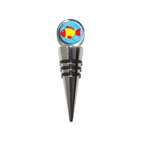 Tropical Fish Red Yellow Wine Bottle Stopper Cork