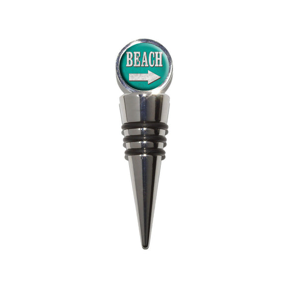 Beach Sign Vintage Wine Bottle Stopper Cork