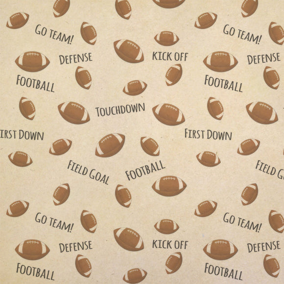Sporty Football Kraft Present Gift Wrap Wrapping Paper