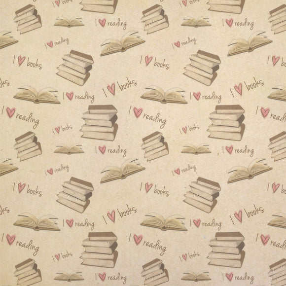 I love books and reading Kraft Present Gift Wrap Wrapping Paper