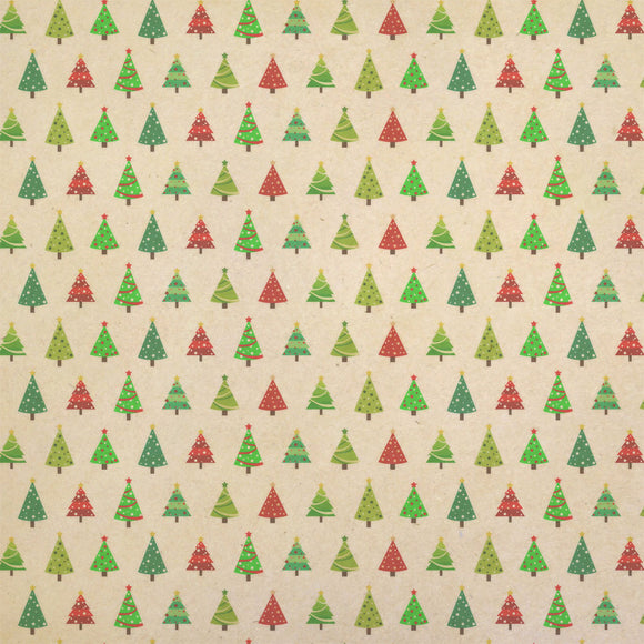 Modern Christmas Trees Kraft Present Gift Wrap Wrapping Paper