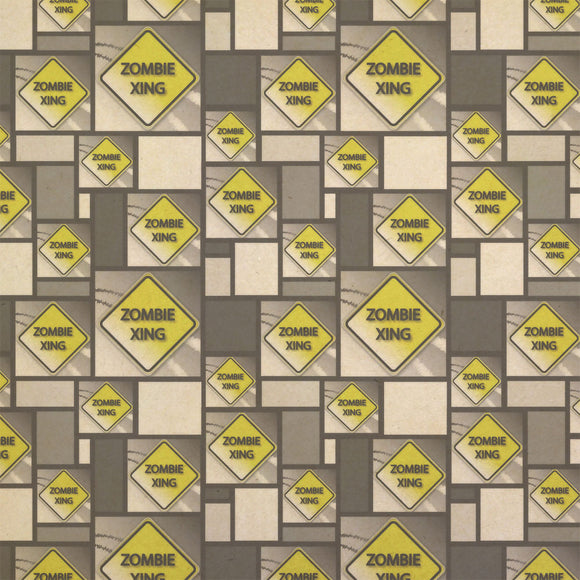 Zombie Xing Crossing Stylized Yellow Grey Caution Sign Kraft Gift Wrapping Paper