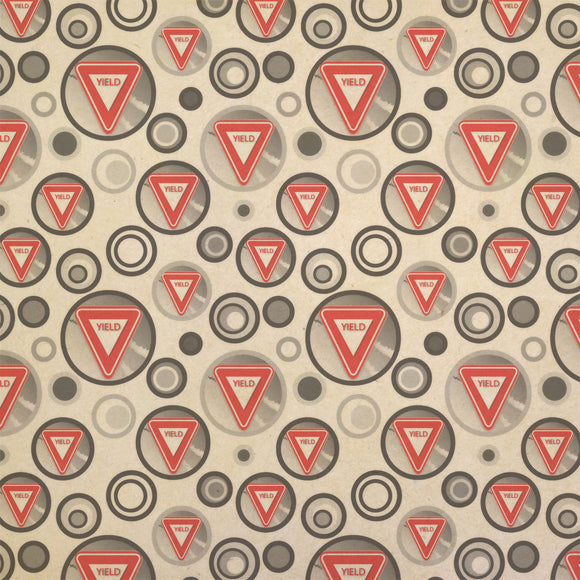 Yield Stylized Red Grey Triangular Sign Kraft Present Gift Wrap Wrapping Paper