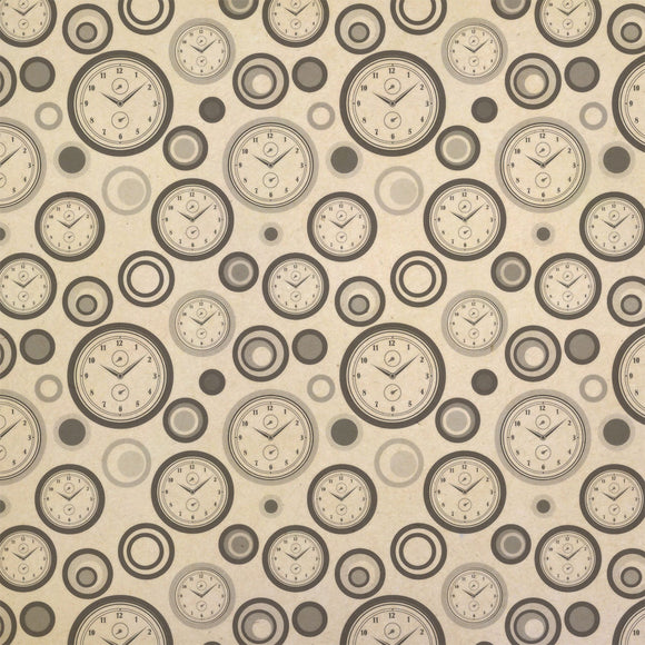 Drawing of Wall Clock Basic White Black Kraft Present Gift Wrap Wrapping Paper