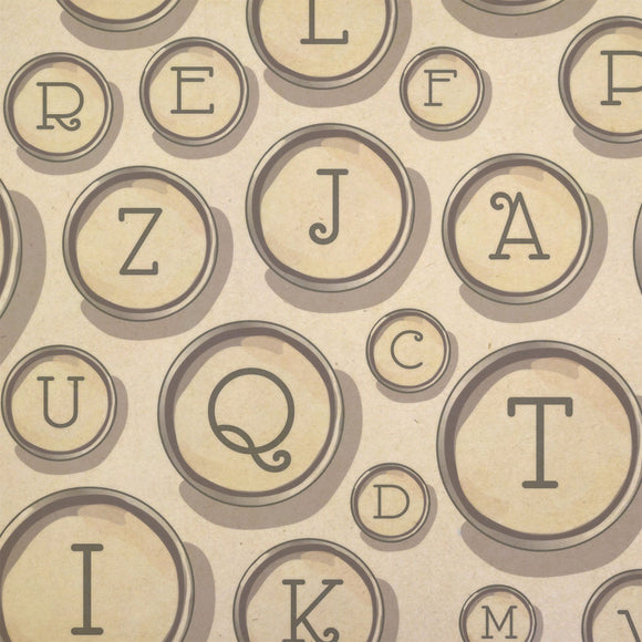 Typewriter Keys Alphabet Kraft Present Gift Wrap Wrapping Paper