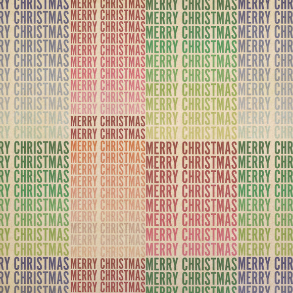 Merry Christmas Ombre Gradient Colorful Kraft Present Gift Wrap Wrapping Paper
