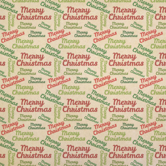 Merry Christmas Kraft Present Gift Wrap Wrapping Paper