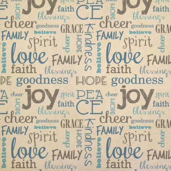 Peace Love and Joy Christmas Word Collage Blue Grey Kraft Gift Wrapping Paper