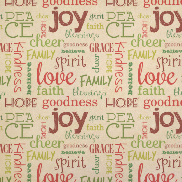 Peace Love and Joy Christmas Word Collage Red Green Kraft Gift Wrapping Paper