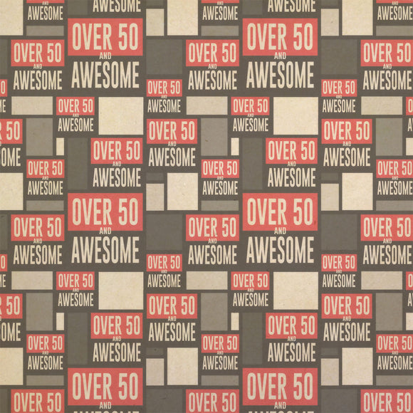 Over Fifty 50 and Awesome Birthday Kraft Present Gift Wrap Wrapping Paper