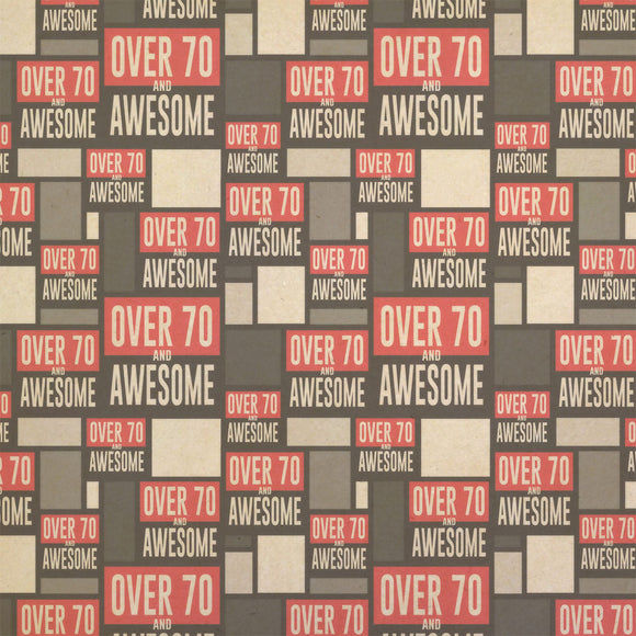 Over Seventy 70 and Awesome Birthday copy Kraft Present Gift Wrap Wrapping Paper