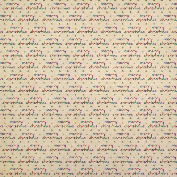 Merry Christmas Fun Kraft Present Gift Wrap Wrapping Paper