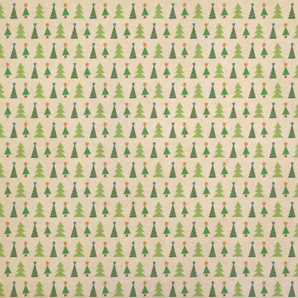 Patterned Christmas Trees Kraft Present Gift Wrap Wrapping Paper
