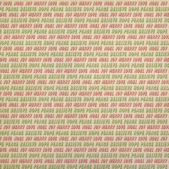 Peace Believe Hope Christmas Words Red Green Kraft Gift Wrap Wrapping Paper