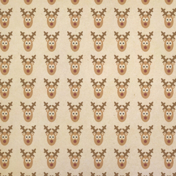 Silly Christmas Reindeer Kraft Present Gift Wrap Wrapping Paper