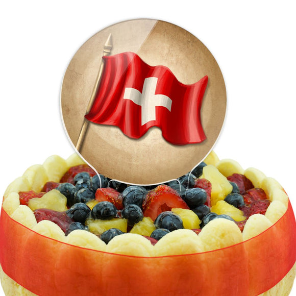 Vintage Swiss Flag - Switzerland Cake Top Topper